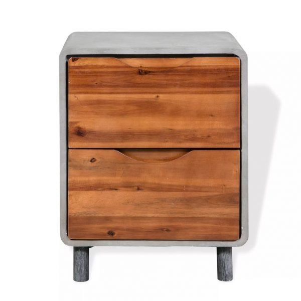 Nightstand Concrete Solid Acacia Wood 40x30x50 cm 2