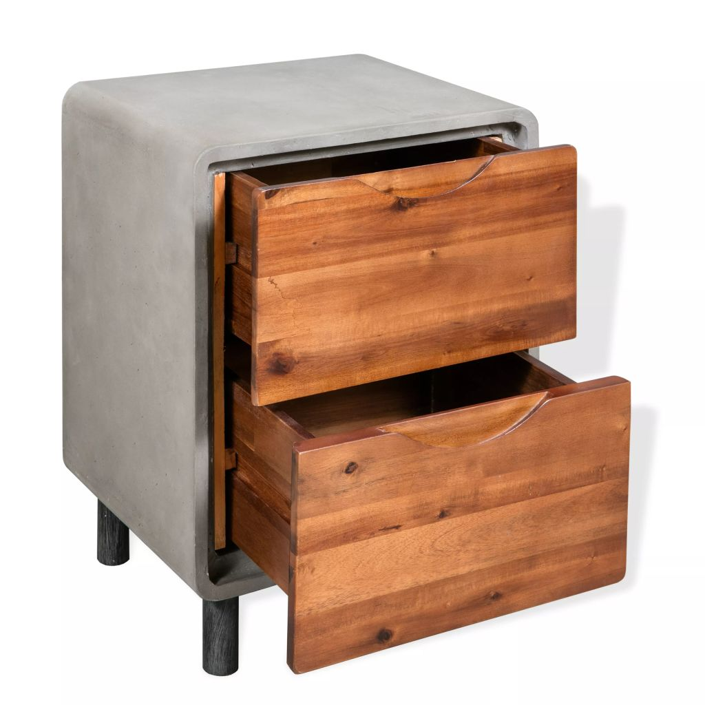 Nightstand Concrete Solid Acacia Wood 40x30x50 cm 3