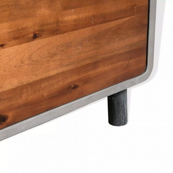 Nightstand Concrete Solid Acacia Wood 40x30x50 cm 4