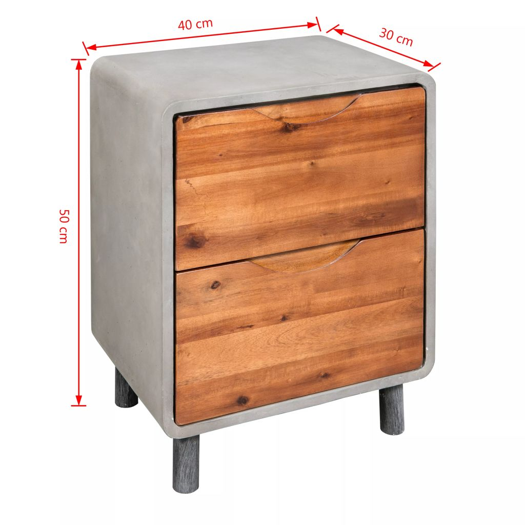 Nightstand Concrete Solid Acacia Wood 40x30x50 cm 6