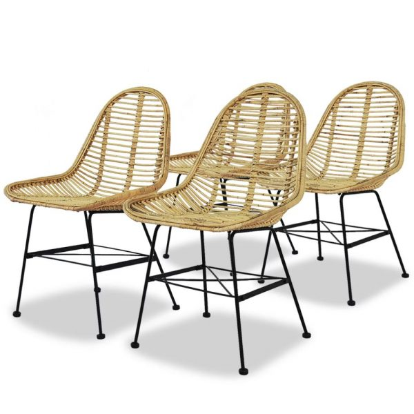 Dining Chairs 4 pcs Natural Rattan 1