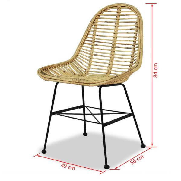 Dining Chairs 4 pcs Natural Rattan 5