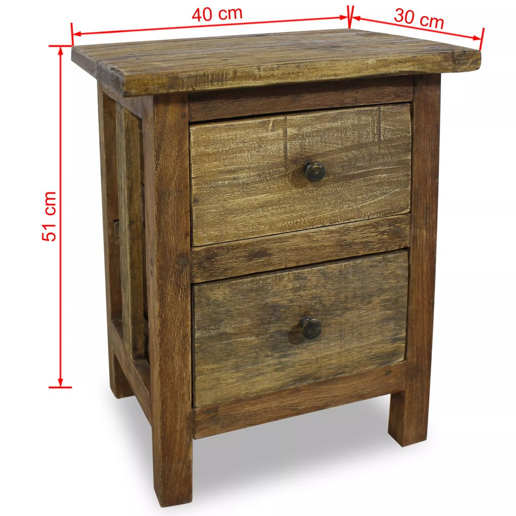 Nightstand Solid Reclaimed Wood 40x30x51 cm 7