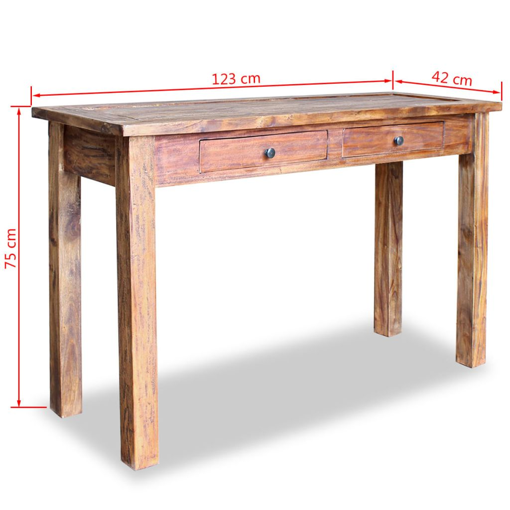 Console Table Solid Reclaimed Wood 123x42x75 cm 5