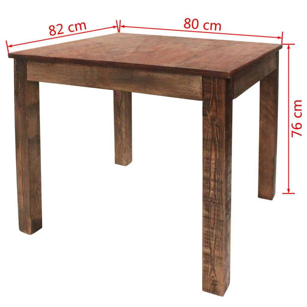 Dining Table Solid Reclaimed Wood 82x80x76 cm 9