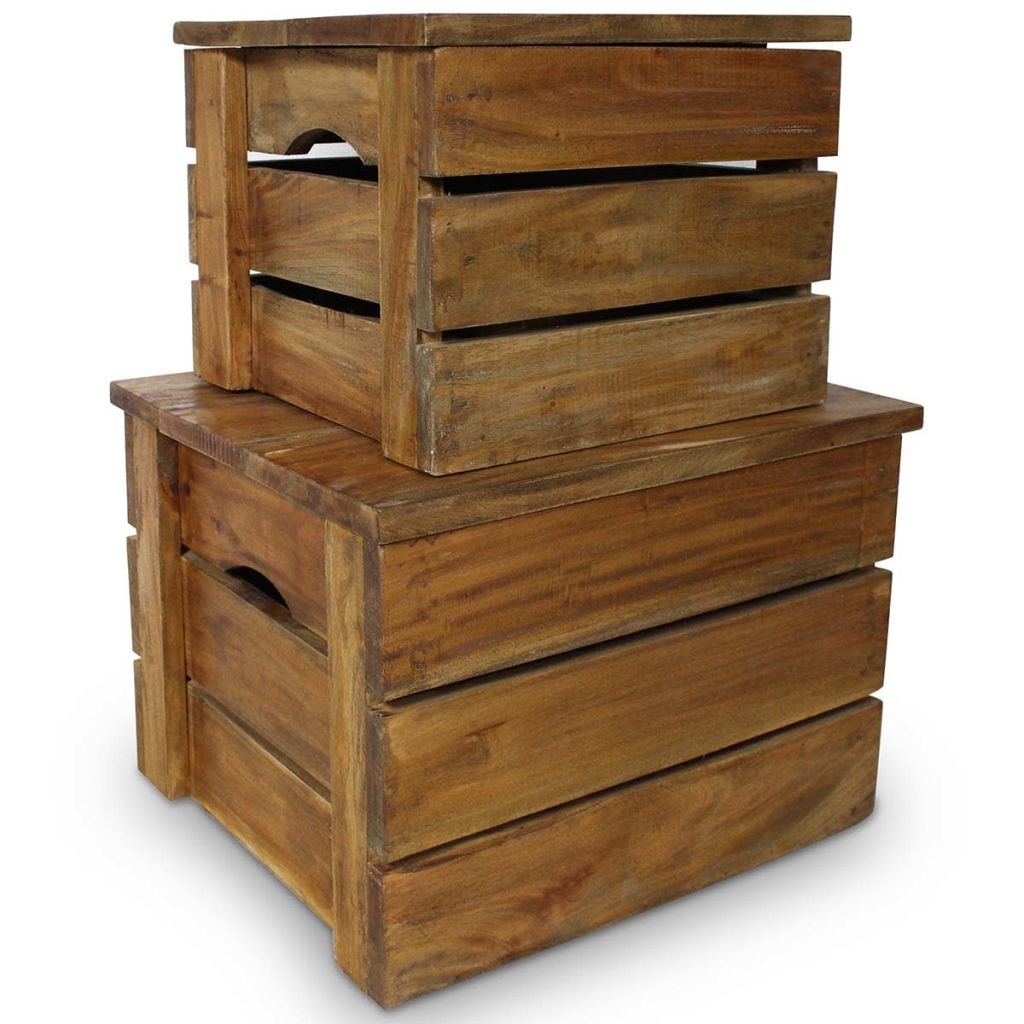Storage Crate Set 2 Pieces Solid Reclaimed Wood 1