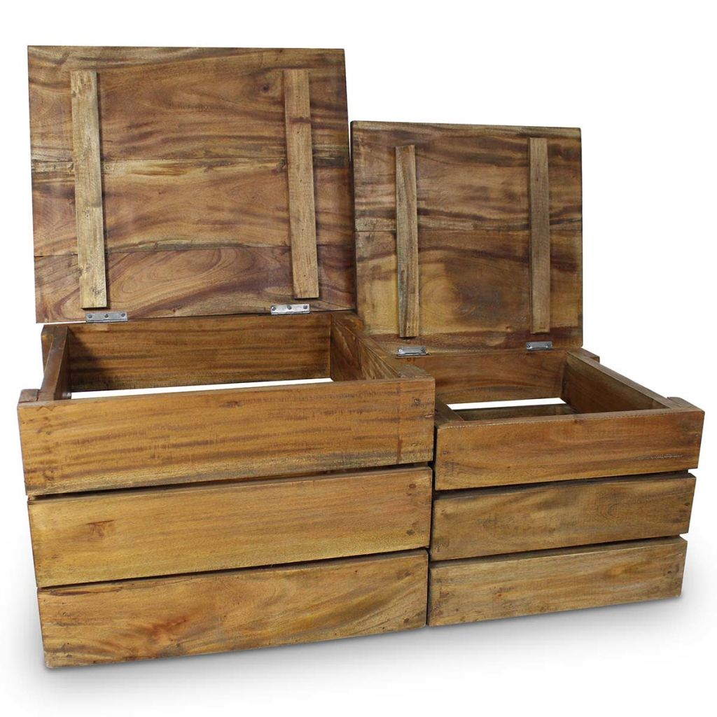 Storage Crate Set 2 Pieces Solid Reclaimed Wood 2