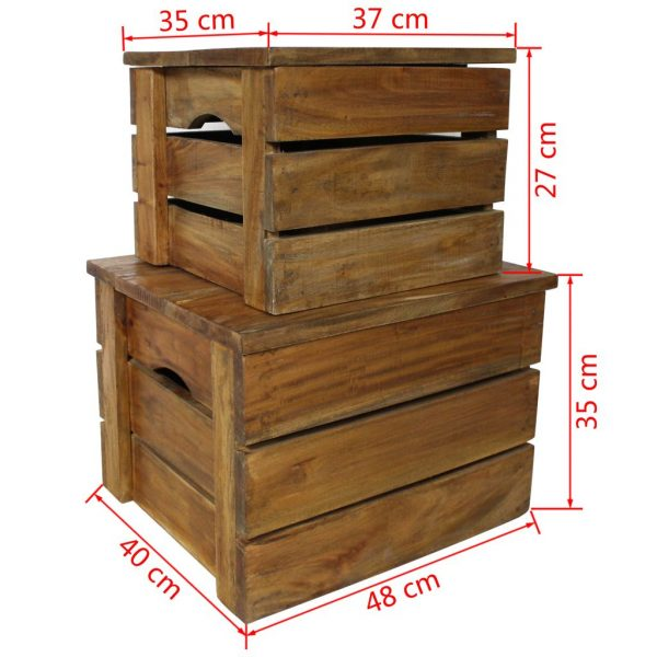 Storage Crate Set 2 Pieces Solid Reclaimed Wood 7