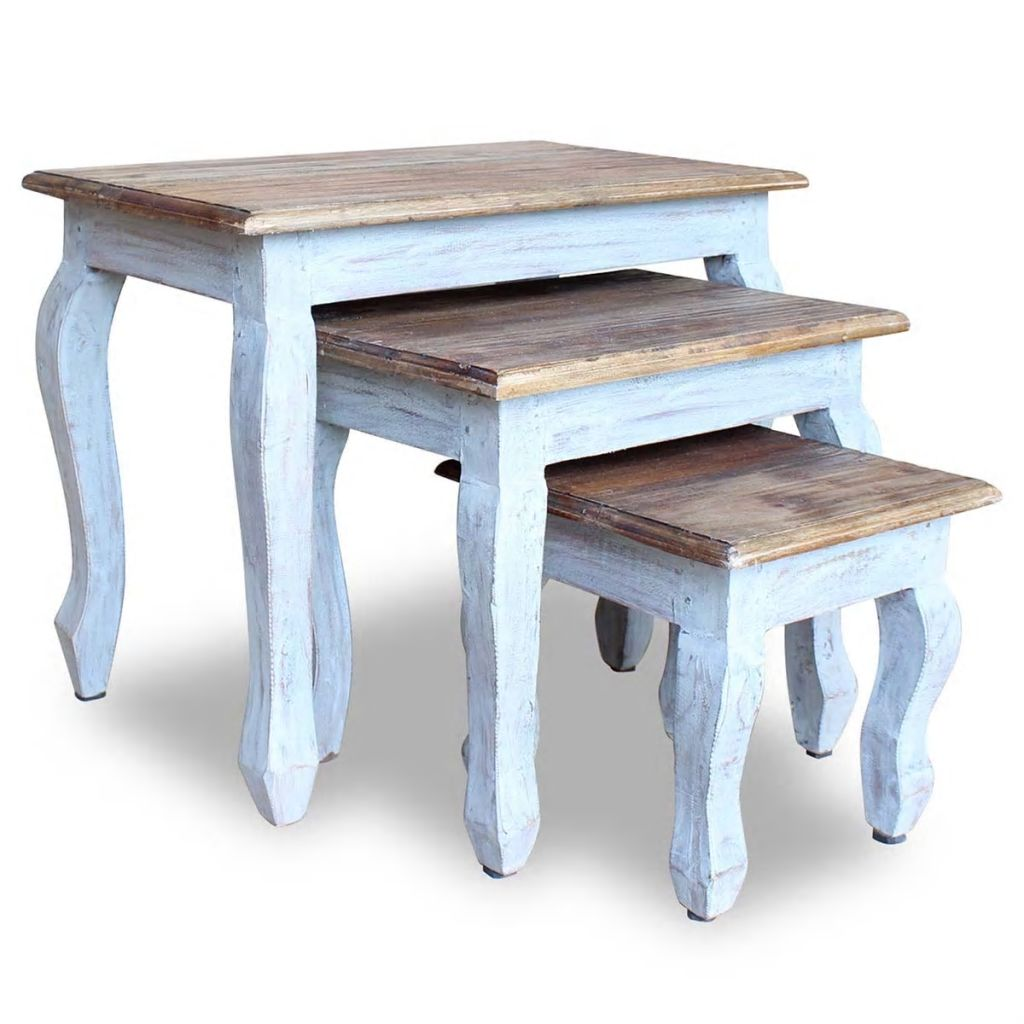Nesting Table Set 3 Pieces Solid Reclaimed Wood 1