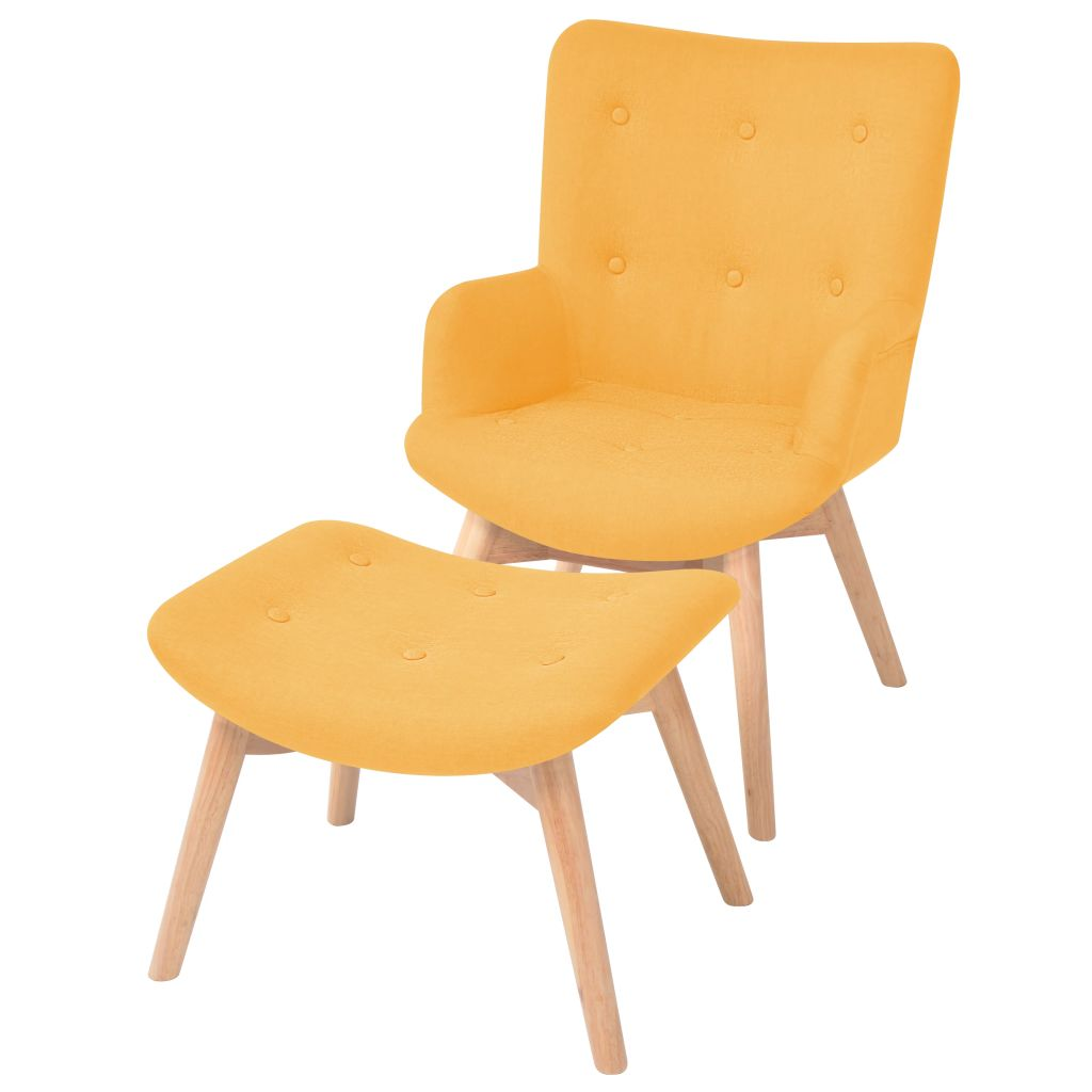 Armchair with Footstool Yellow Fabric 1