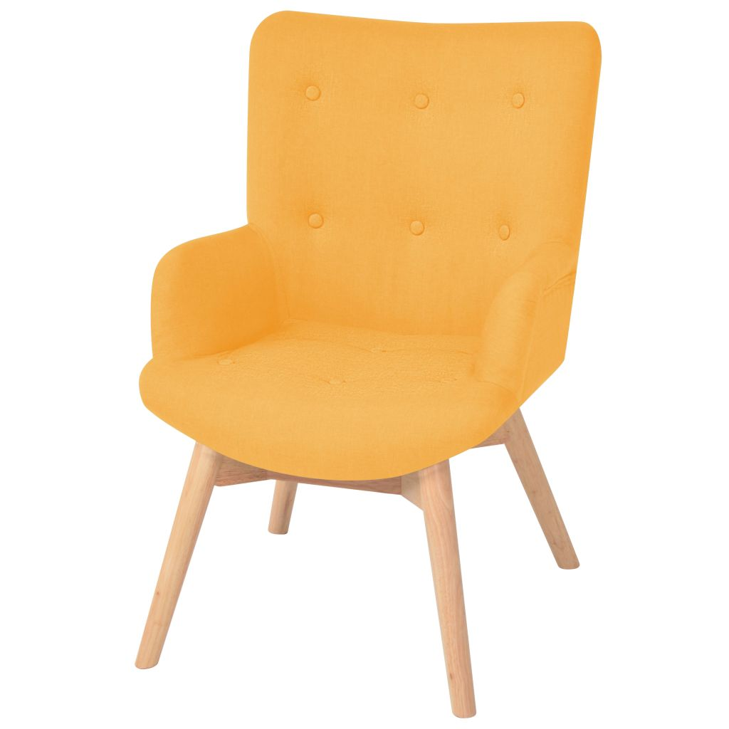 Armchair with Footstool Yellow Fabric 2