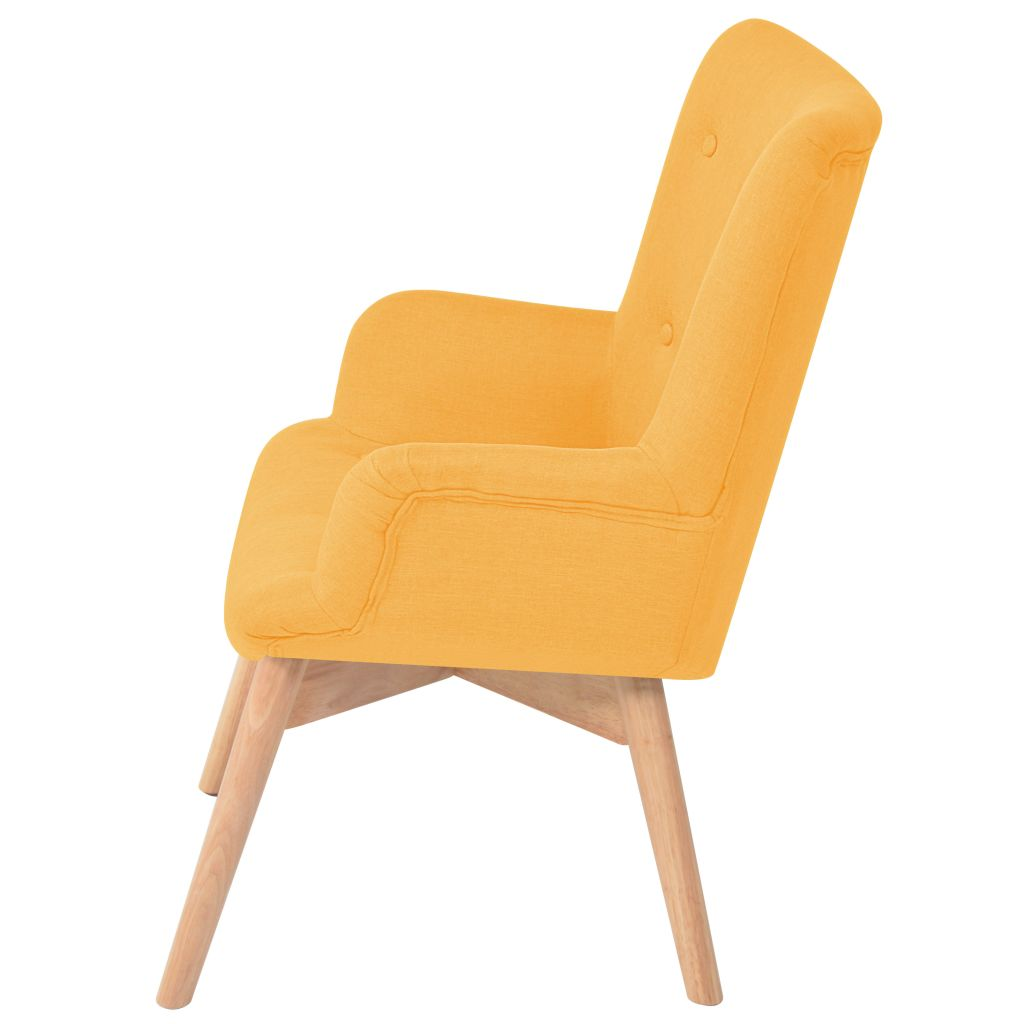 Armchair with Footstool Yellow Fabric 3