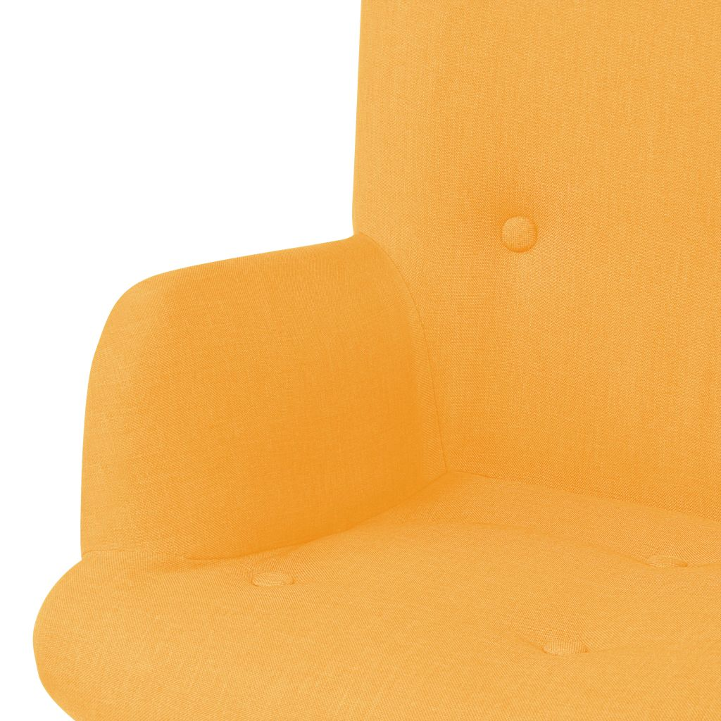 Armchair with Footstool Yellow Fabric 4