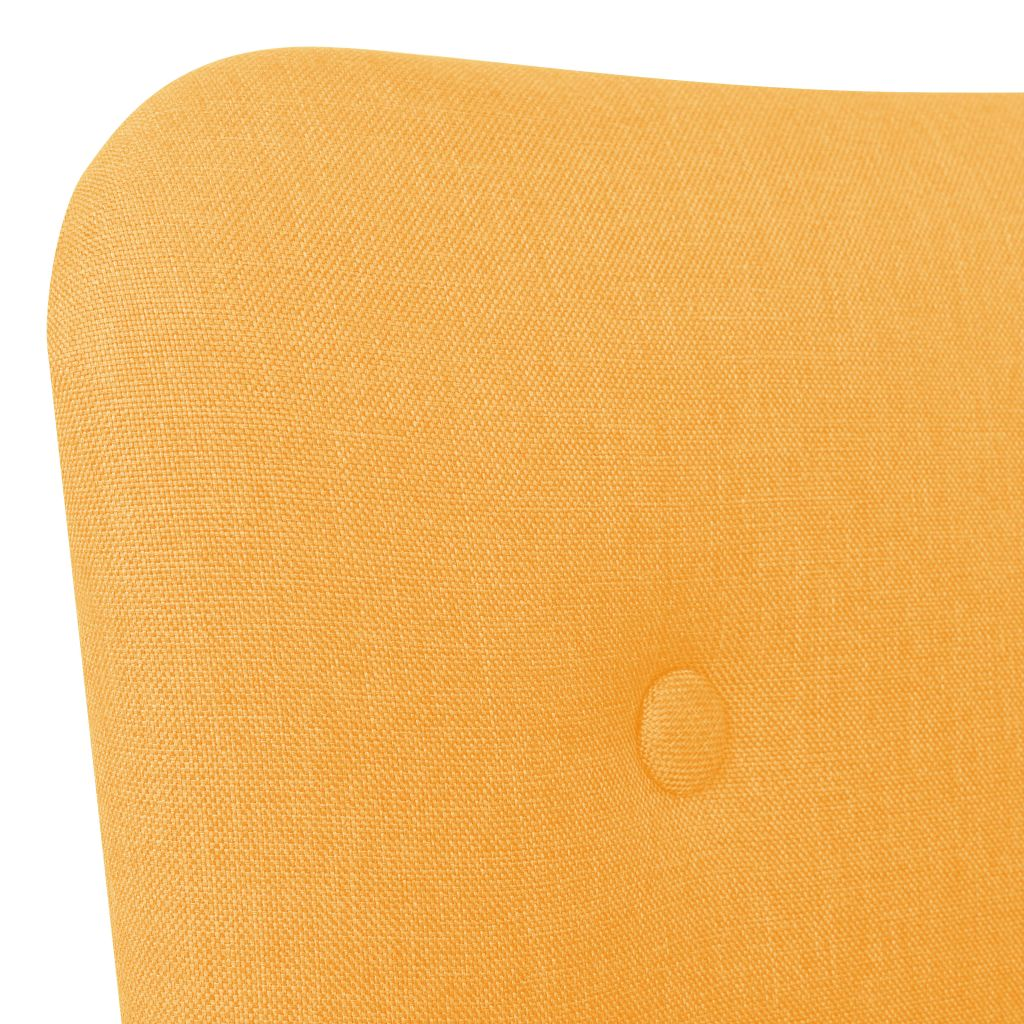 Armchair with Footstool Yellow Fabric 5