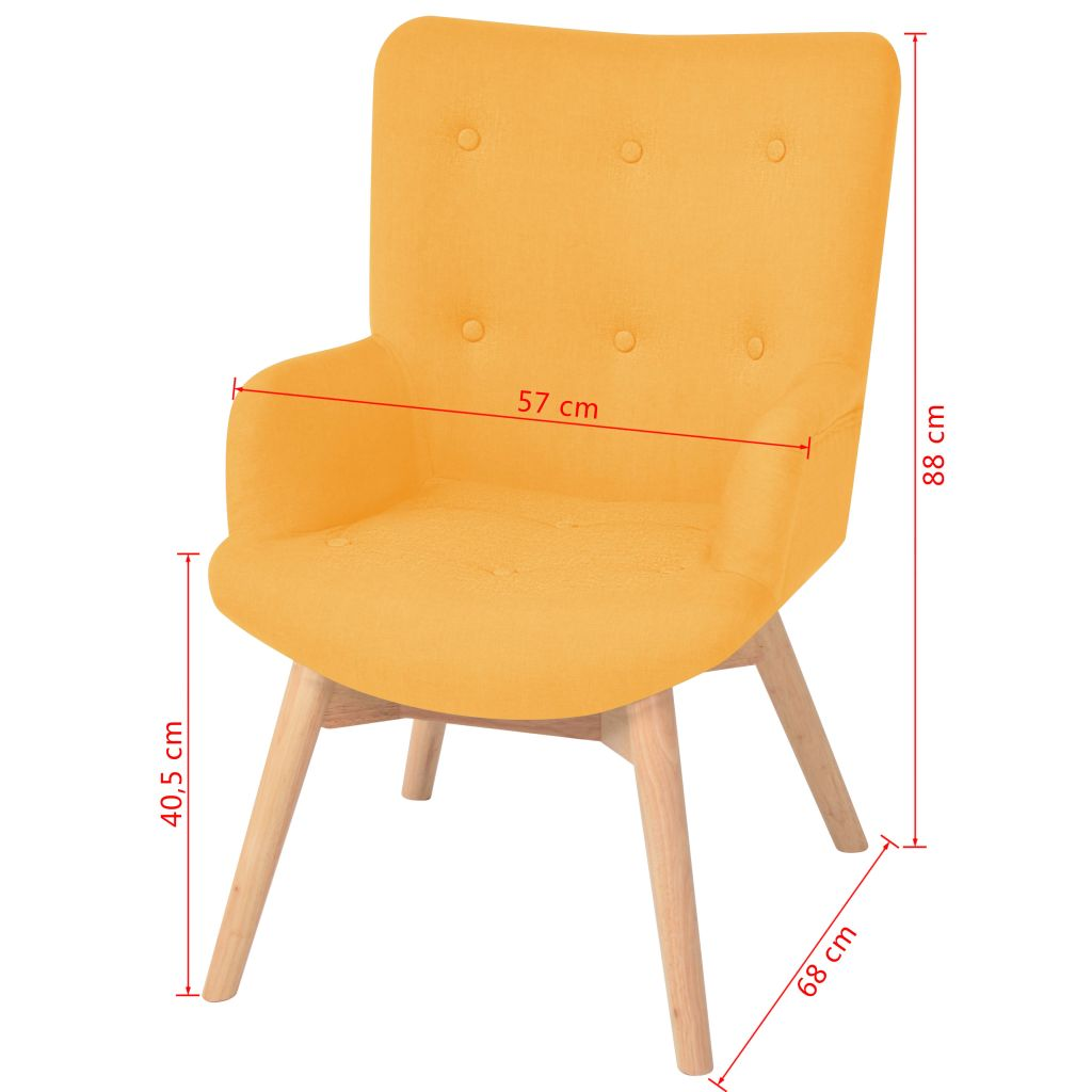 Armchair with Footstool Yellow Fabric 9