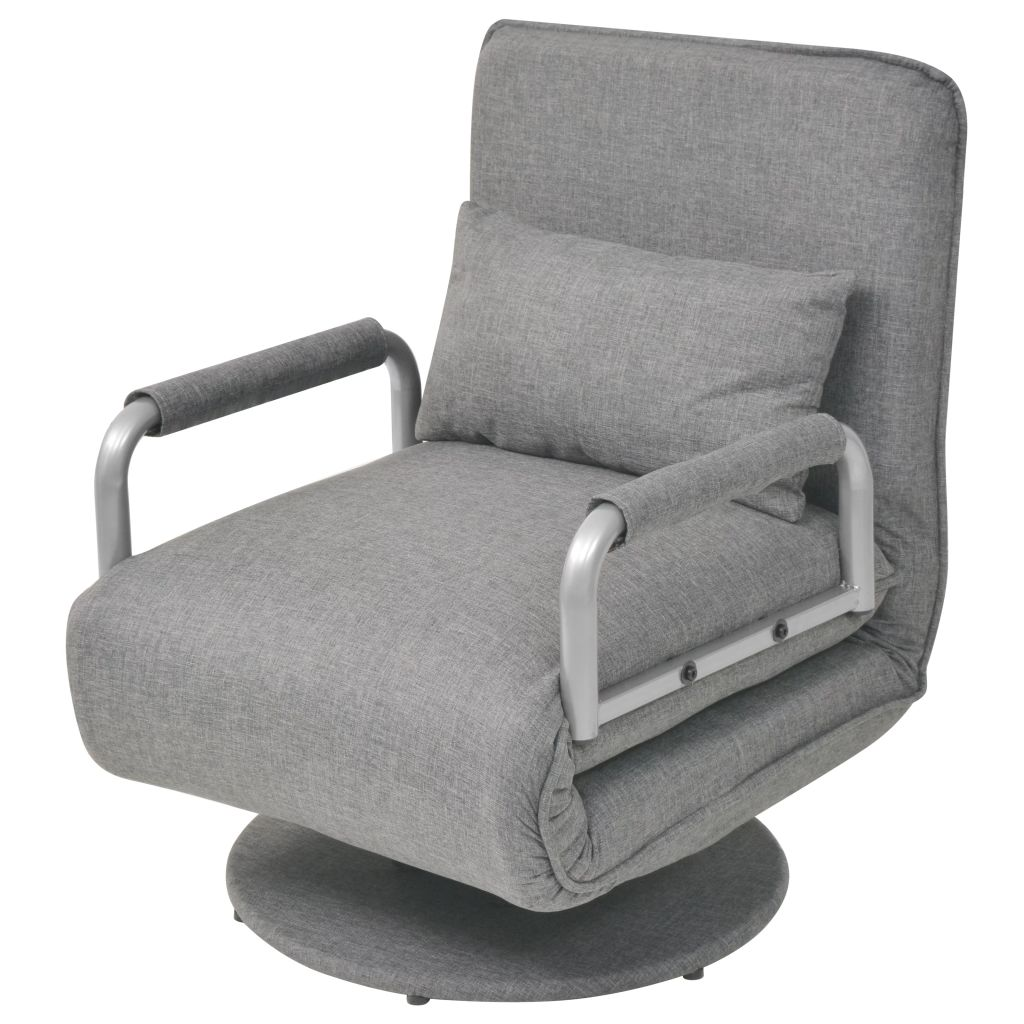 Swivel Chair and Sofa Bed Light Grey Fabric 1