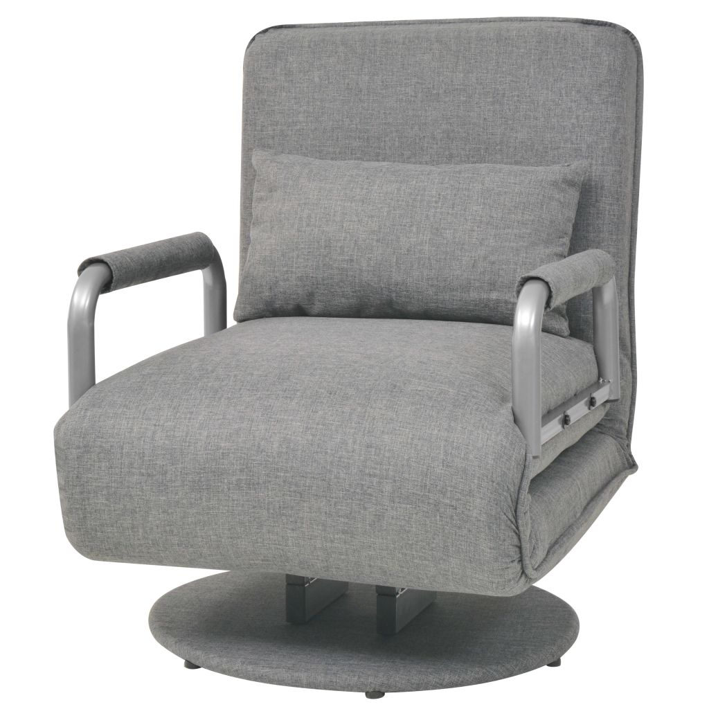 Swivel Chair and Sofa Bed Light Grey Fabric 2