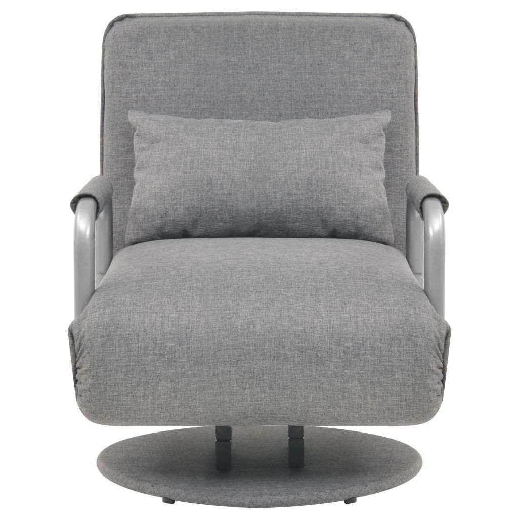 Swivel Chair and Sofa Bed Light Grey Fabric 3
