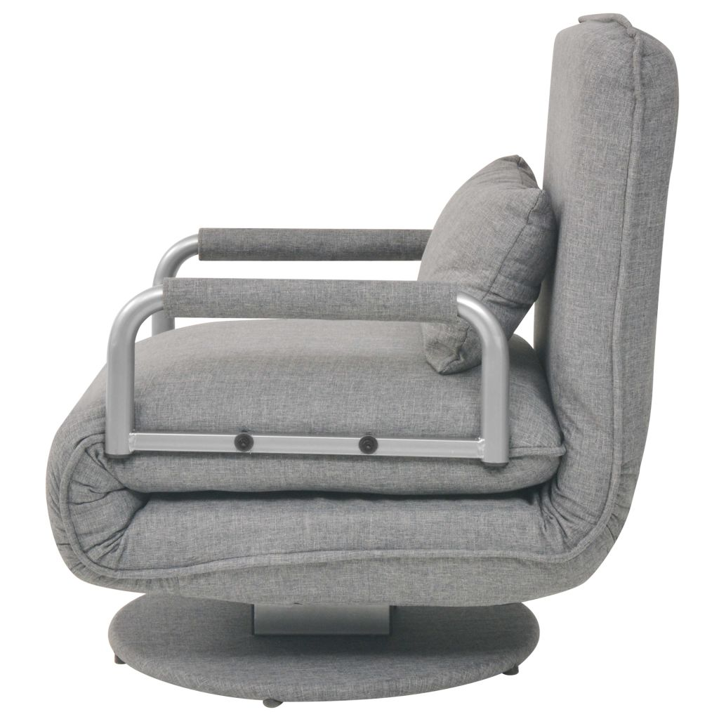 Swivel Chair and Sofa Bed Light Grey Fabric 4