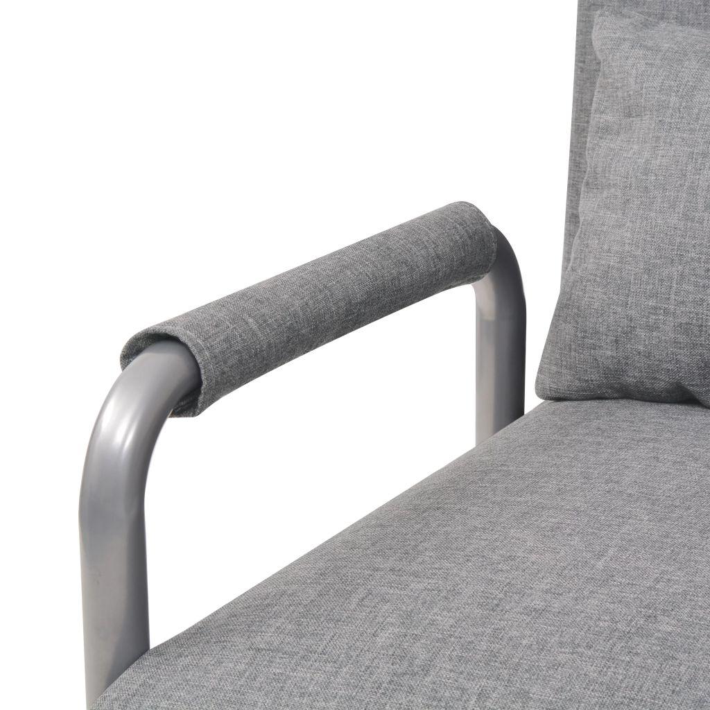Swivel Chair and Sofa Bed Light Grey Fabric 7