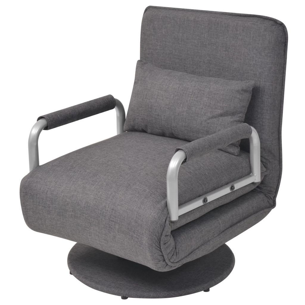 Swivel Chair and Sofa Bed Dark Grey Fabric 1