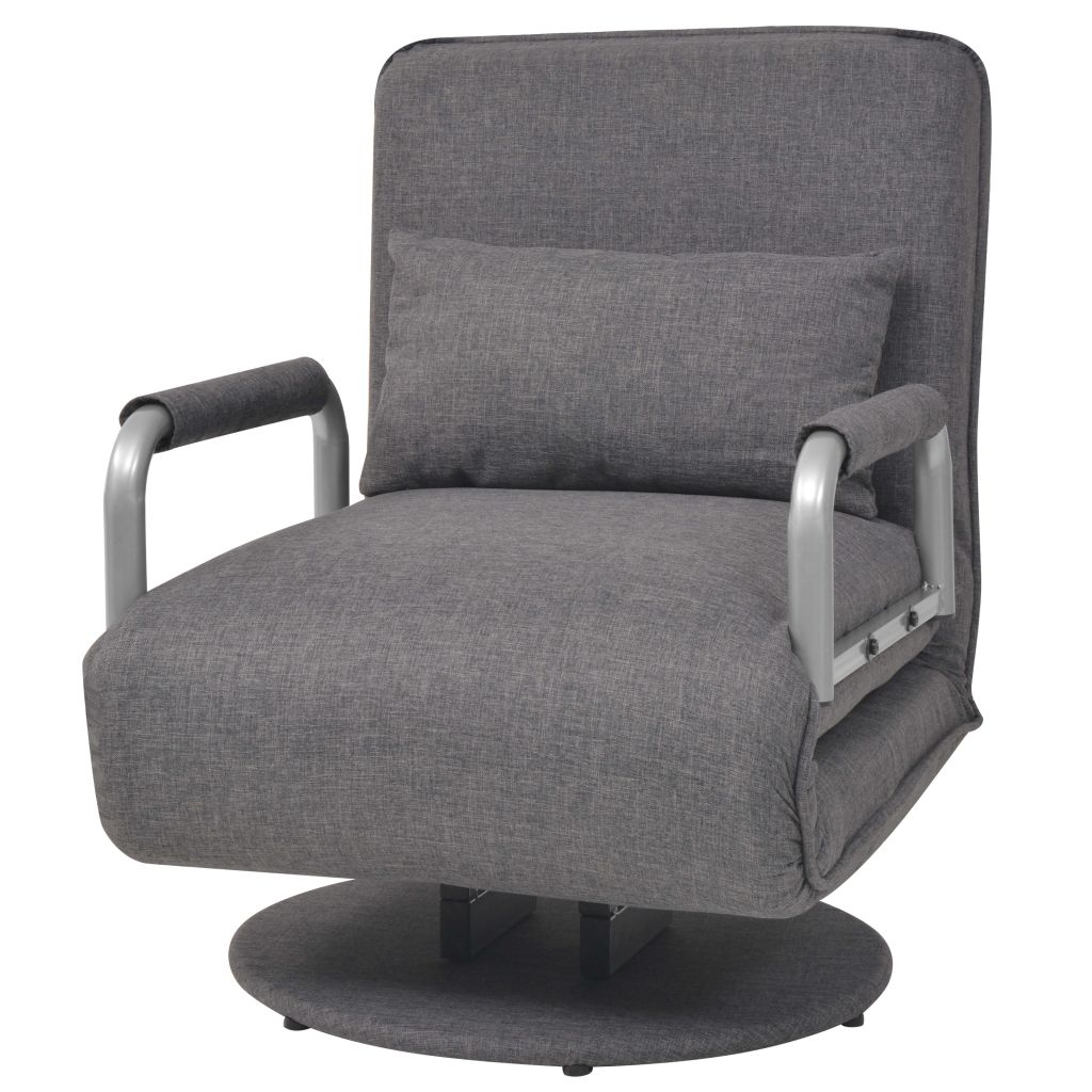 Swivel Chair and Sofa Bed Dark Grey Fabric 2