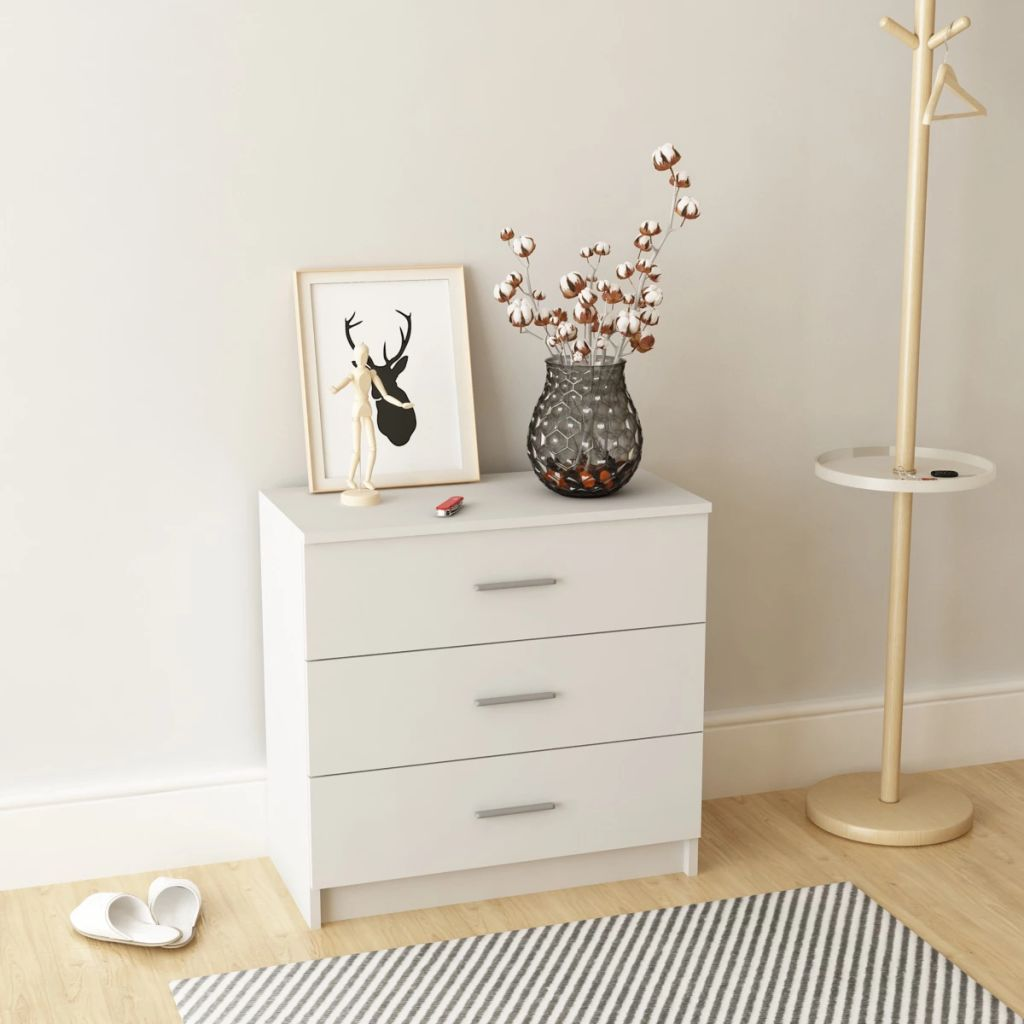 Chest of Drawers Chipboard 71x35x69 cm White 1
