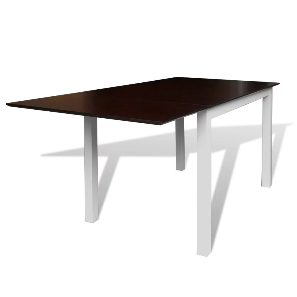 Extending Dining Table Rubberwood Brown and White 150 cm 1