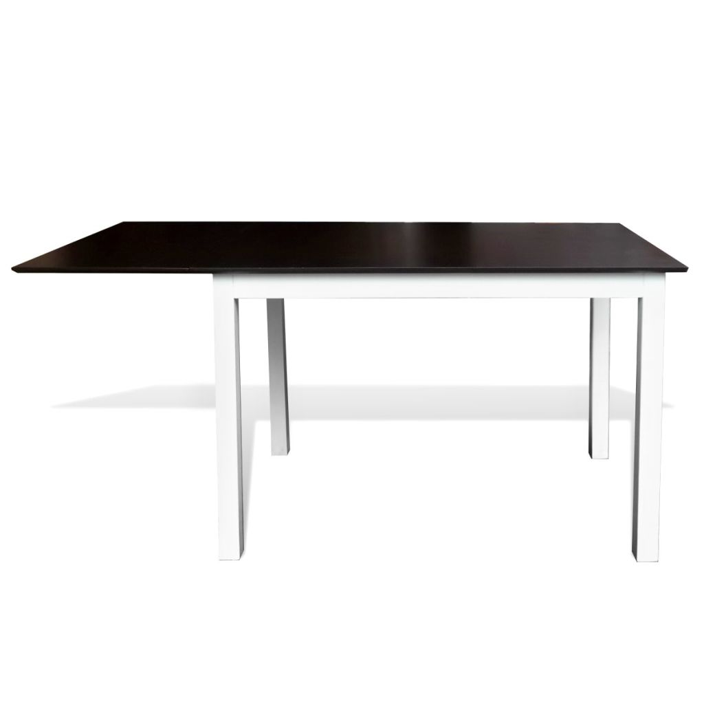 Extending Dining Table Rubberwood Brown and White 150 cm 2
