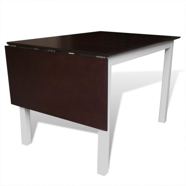 Extending Dining Table Rubberwood Brown and White 150 cm 3