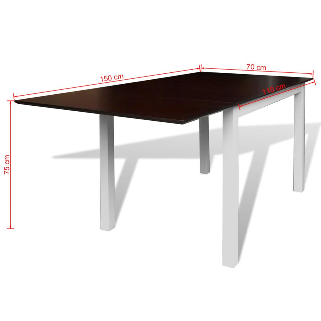 Extending Dining Table Rubberwood Brown and White 150 cm 4