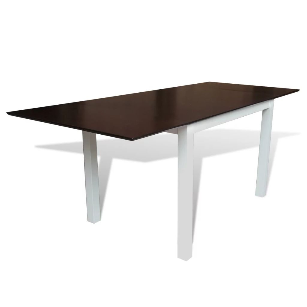 Extending Dining Table Rubberwood Brown and White 190 cm 1
