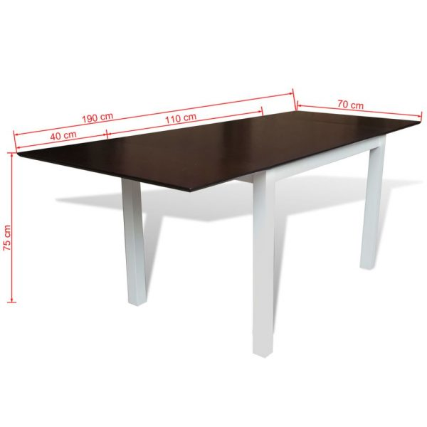 Extending Dining Table Rubberwood Brown and White 190 cm 4