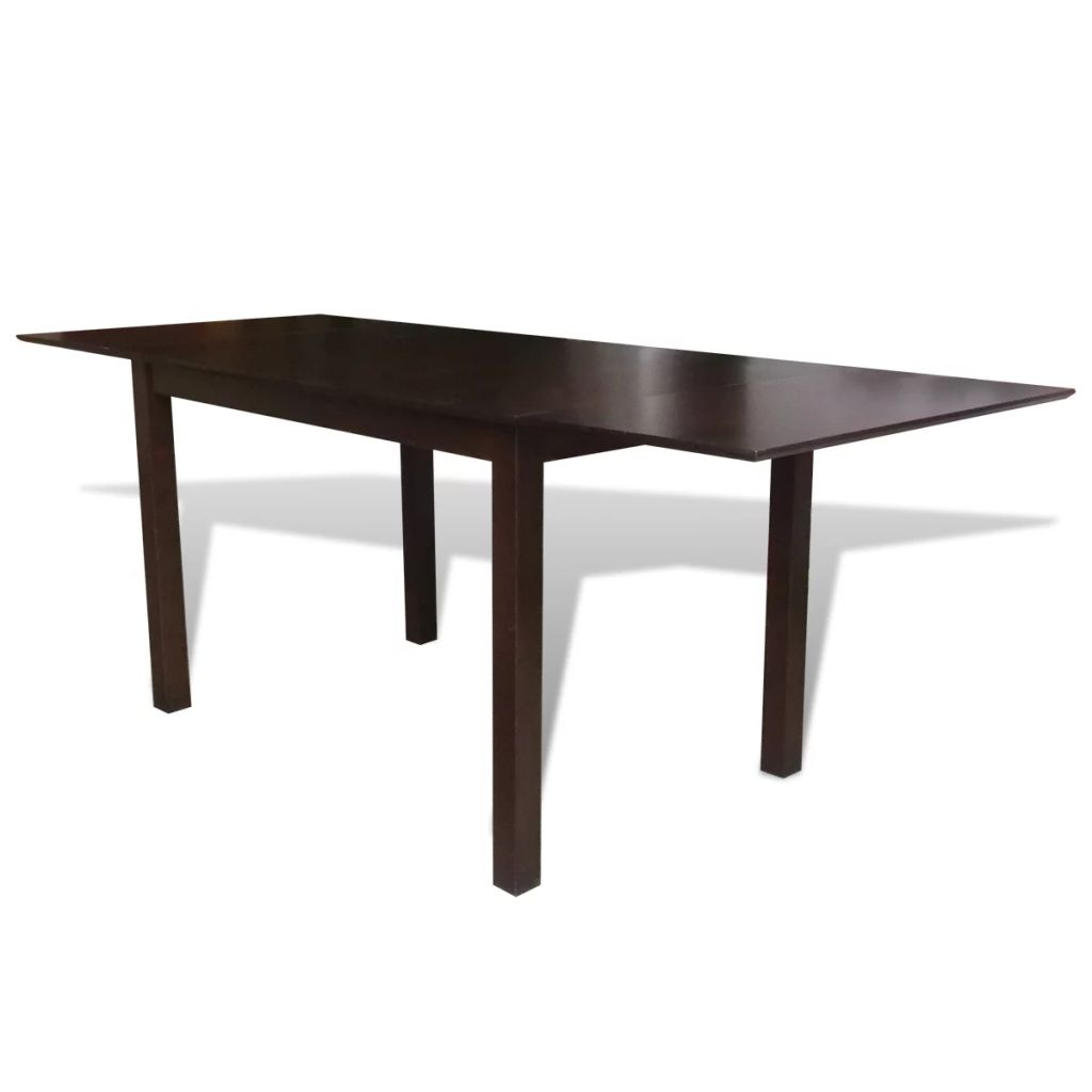 Extending Dining Table Rubberwood Brown 190 cm 1