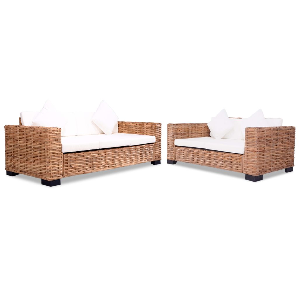 2 Piece Sofa Set Natural Rattan 1