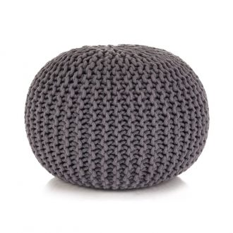 Hand-Knitted Pouffe Cotton 50×35 cm Grey 1