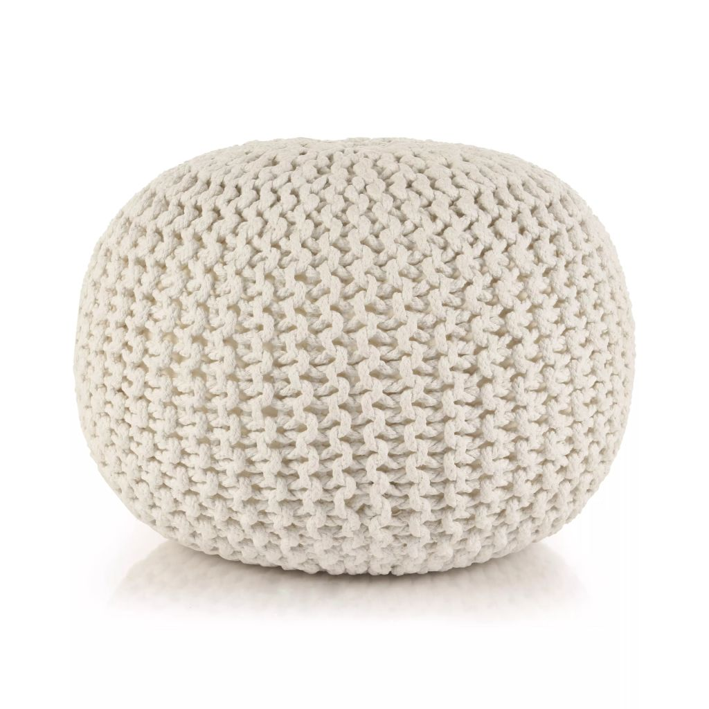 Hand-Knitted Pouffe Cotton 50×35 cm White 1