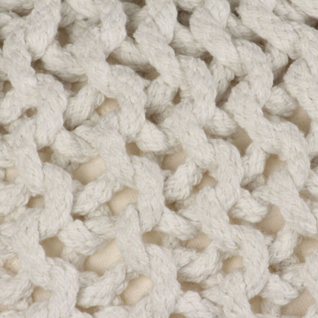 Hand-Knitted Pouffe Cotton 50×35 cm White 2