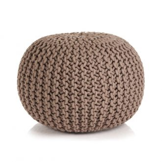 Hand-Knitted Pouffe Cotton 50×35 cm Brown 1