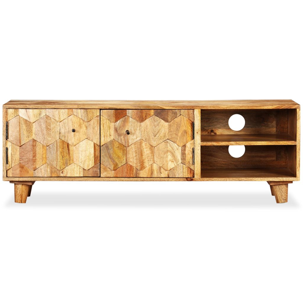TV Cabinet Solid Mango Wood 118x35x40 cm 5