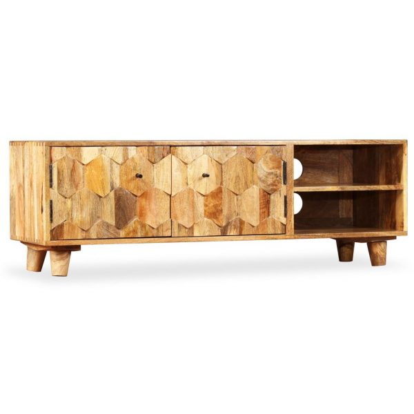 TV Cabinet Solid Mango Wood 118x35x40 cm 8