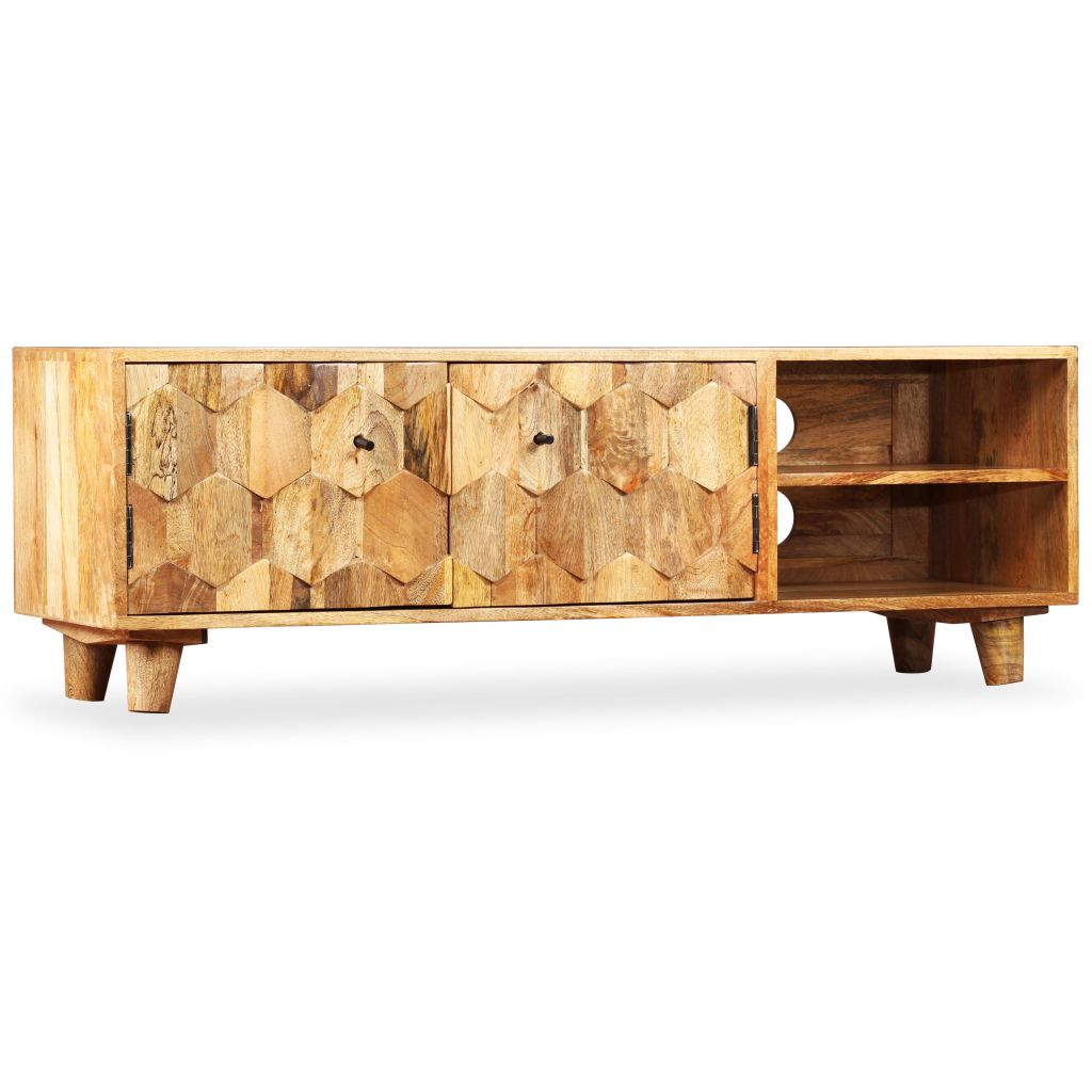 TV Cabinet Solid Mango Wood 118x35x40 cm 9