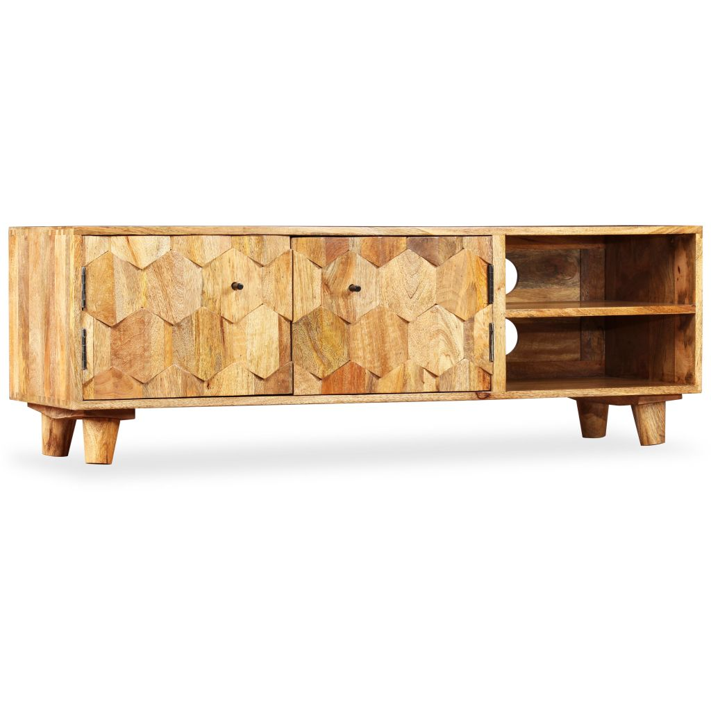 TV Cabinet Solid Mango Wood 118x35x40 cm 10