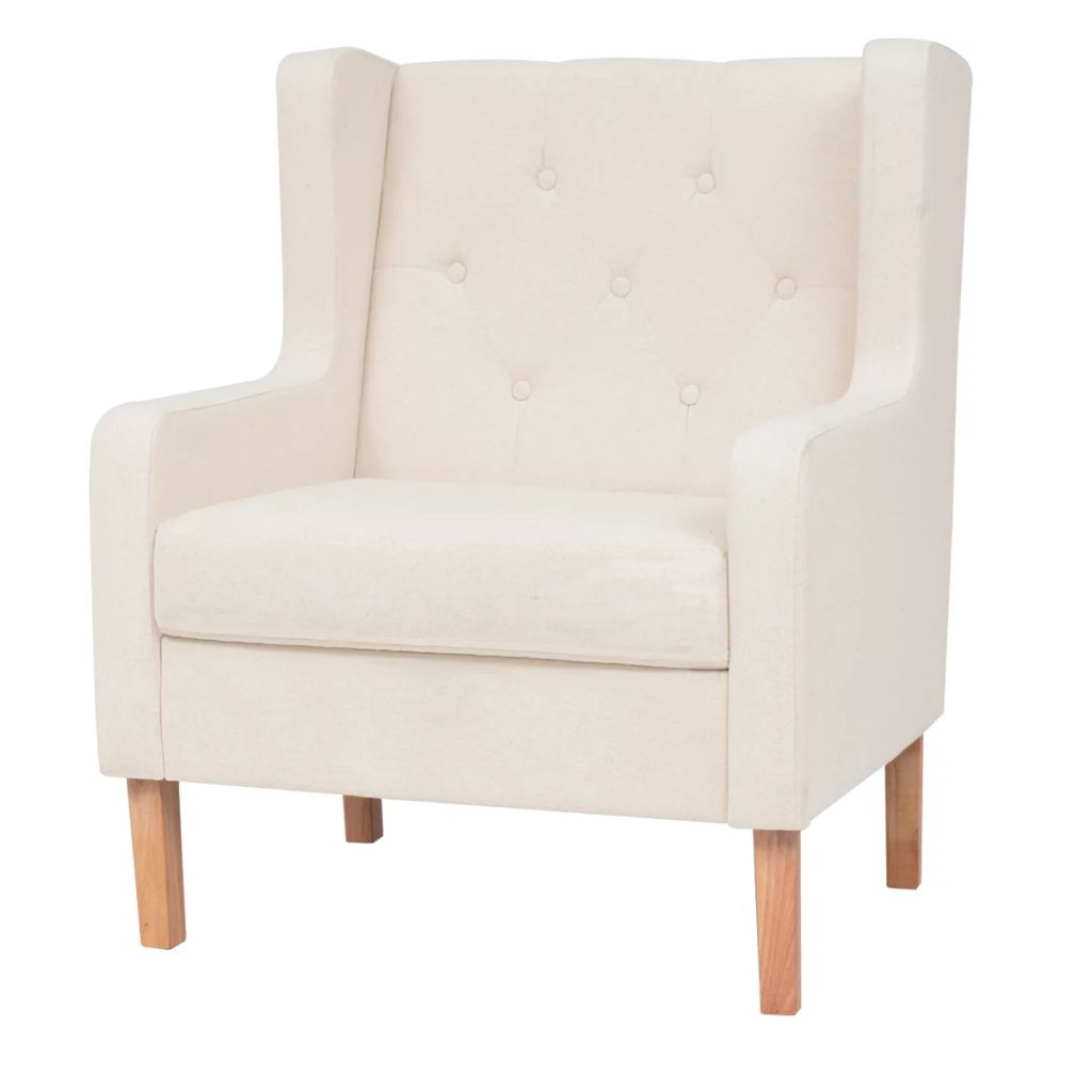 Armchair Cream White Fabric 1