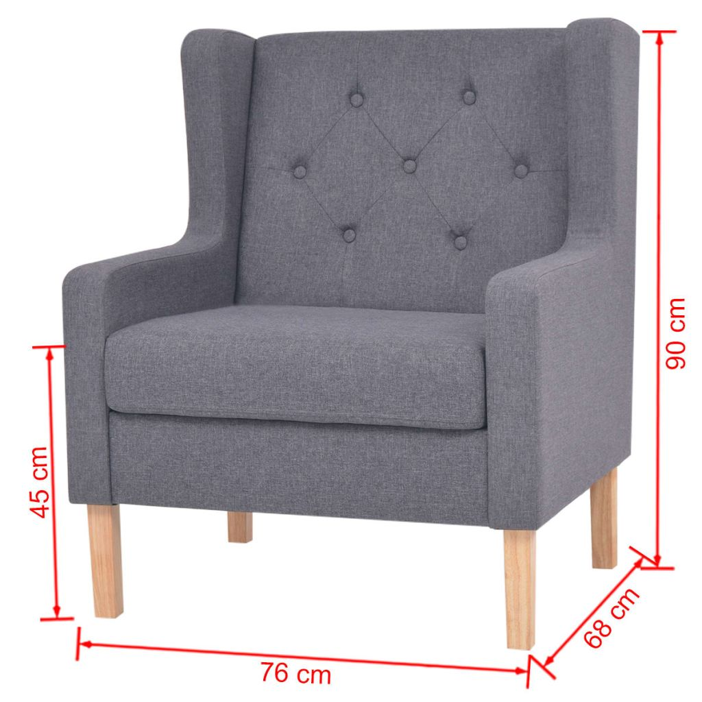 Armchair Grey Fabric 7