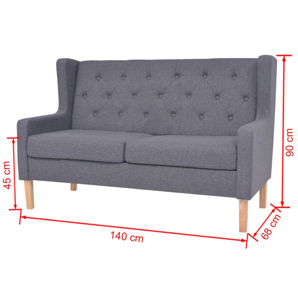 2-Seater Sofa Fabric Grey 7