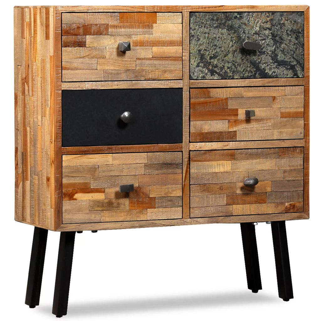 Side Cabinet with 6 Drawers 70x30x76 cm Solid Reclaimed Teak 1