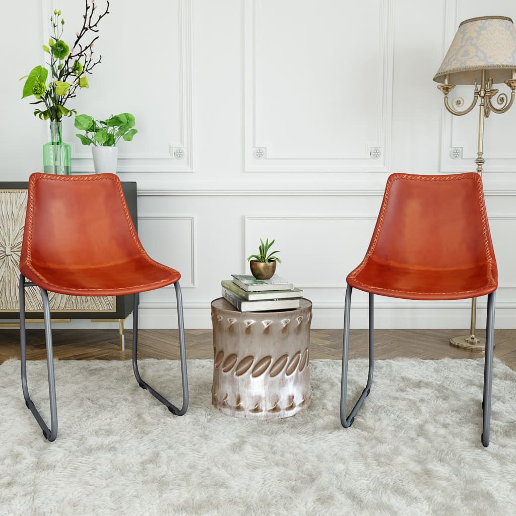 Dining Chairs 2 pcs Brown Real Leather 2