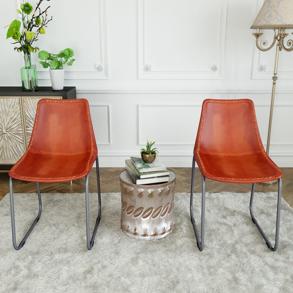 Dining Chairs 2 pcs Brown Real Leather 3
