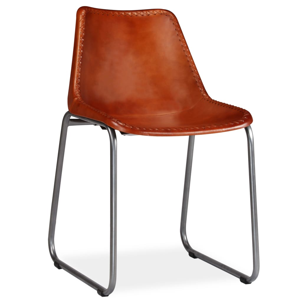 Dining Chairs 2 pcs Brown Real Leather 5